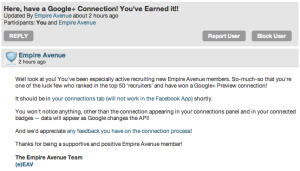 Google+ Preview Connection email from Empire Avenue